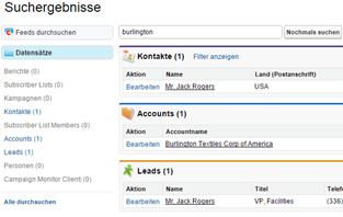 Globale Suche in Salesforce: Datensätze