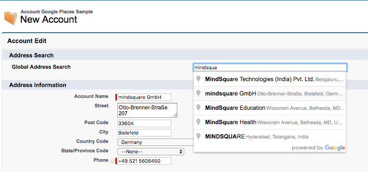 Address Autocomplete in Visualforce mit der Google Places API