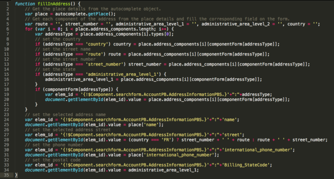 Visualforce Adressfelder füllen (Klicken zum Vergrößern)