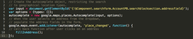 Google Places API initialisierung (Klicken zum Vergrößern)
