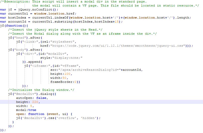 JQuery UI Modal definieren