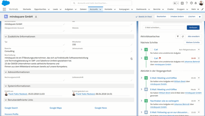Salesforce Aktivitäten Tracking