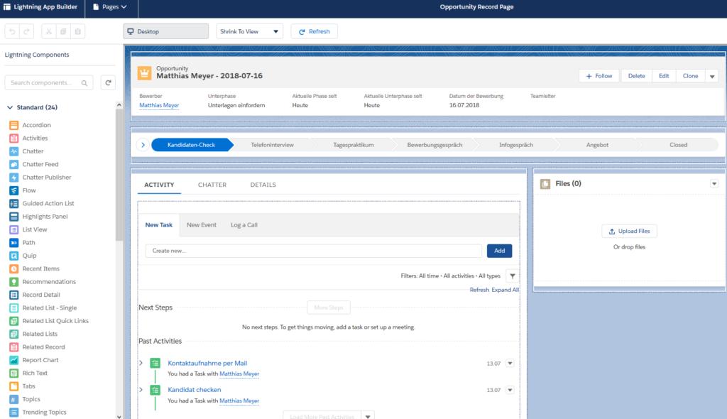 Der Lightning App Builder ermöglicht die Erstellung von Nutzeroberflächen ohne Codeeinsatz