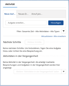 Aktivitäten Management Salesforce Lightning