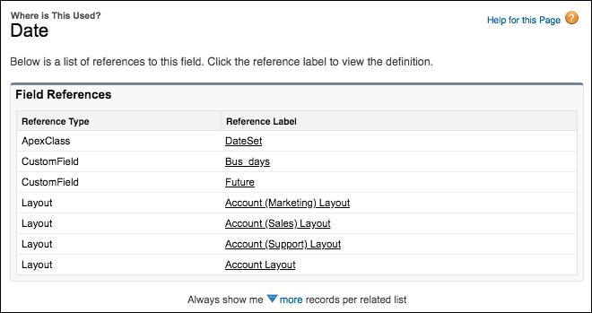 Salesforce Feldverwendung Anzeige