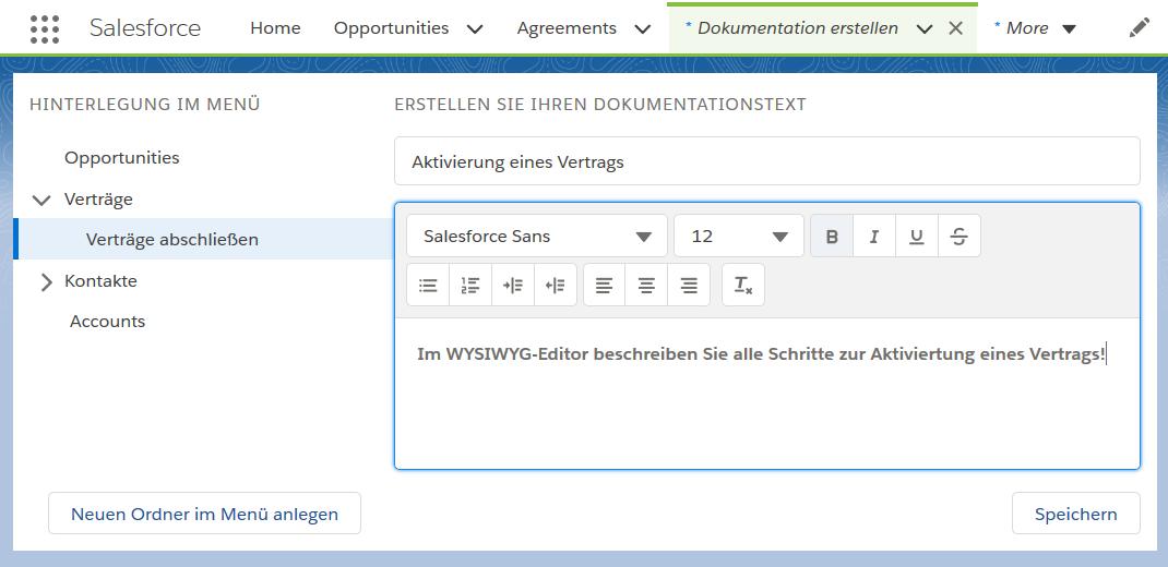 Salesforce Dokumentations-App: Eine Dokumentation anlegen