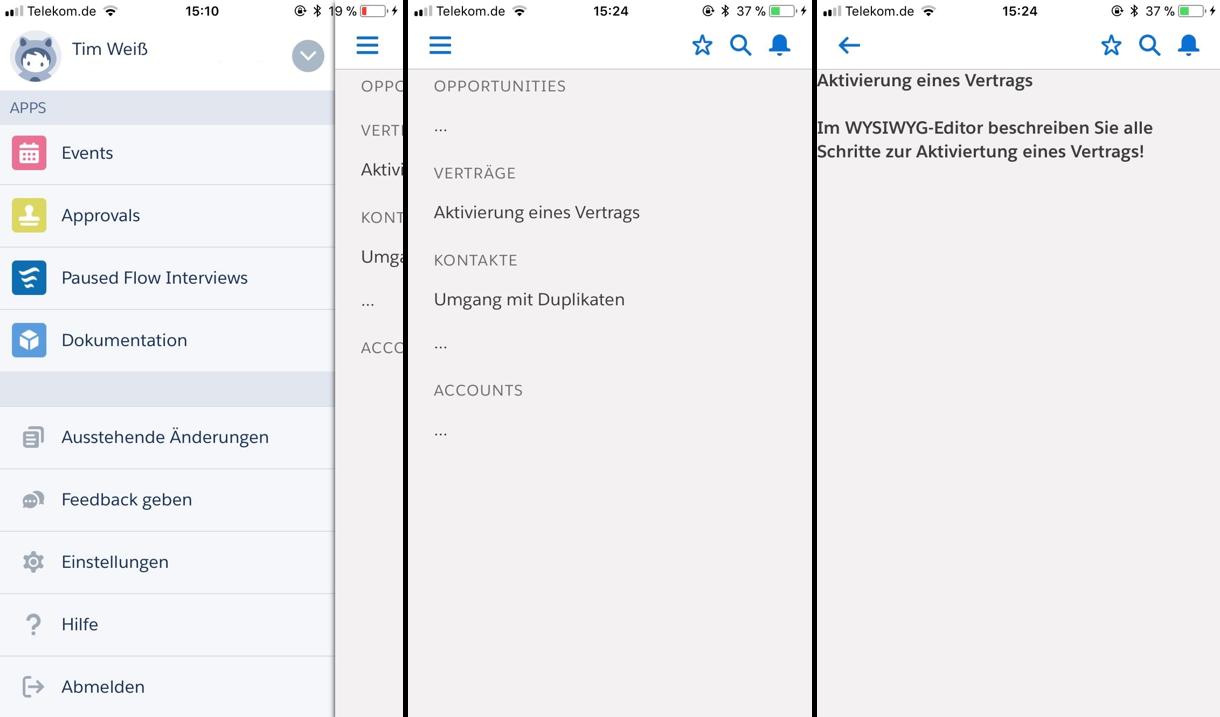 Salesforce Dokumentations-App: Dokumentation in der Salesforce App anzeigen