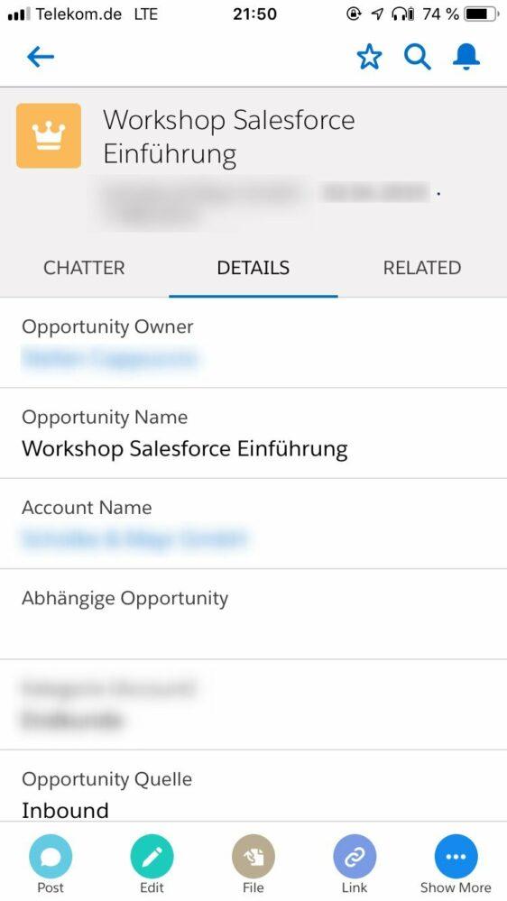 Opportunity-Detailansicht der Salesforce App