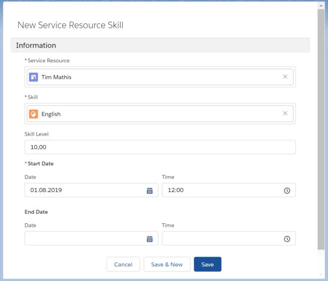 Zuweisung eines Skills in Salesforce