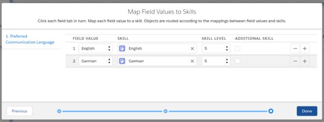 Zuordnung von Feldwerten zu Skills beim Attribute-Based Routing