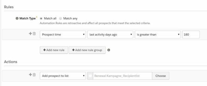 Segmentierung mittels einer Automation Rule