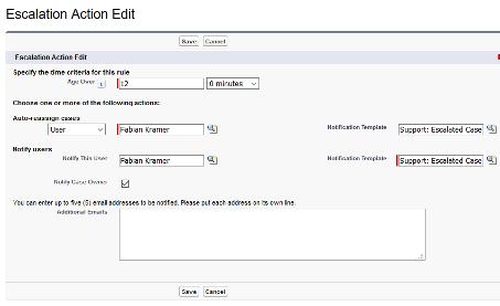 Abbildung 4: Escalation Action Edit