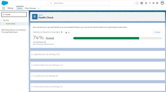 Sicherheitscheck in Salesforce Organisation: Dashboard