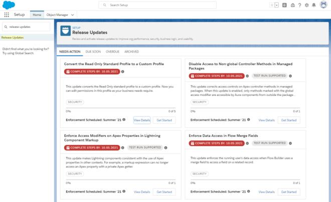 Dashboard Release Updates (Salesforce Release Updates)