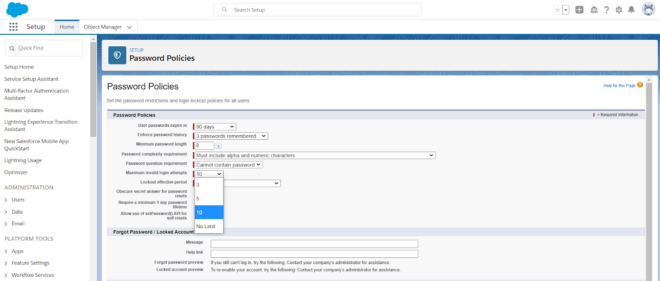 Sicherheitscheck in Salesforce Organisation: Kennworteinstellungen