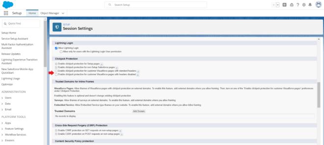 Sicherheitscheck in Salesforce Organisation: Session Settings